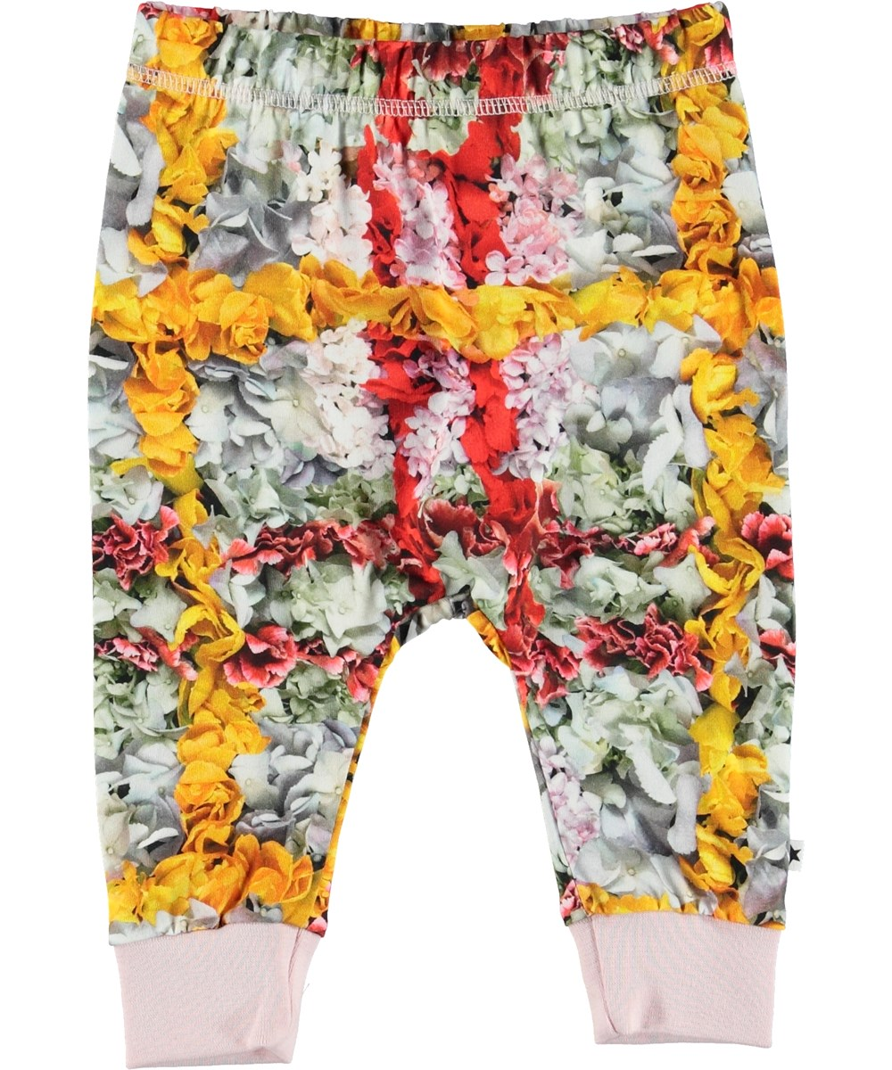 Simone - Checked Flowers - Baby trousers with flower plaid.
