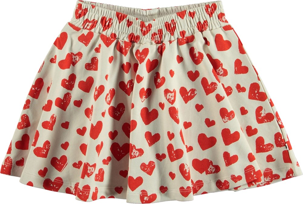 Barbera - All Is Love - White skirt with red hearts.