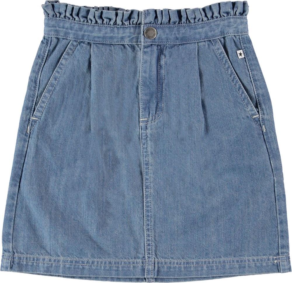 Beth - Washed Denim Blue - Denim skirt with ruffle.