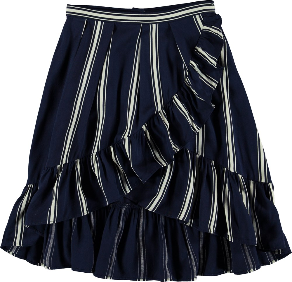 Blondie - Classic Navy - Striped skirt with ruffle edge.