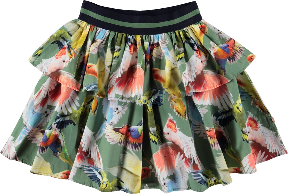 Brianna - Budgies - Green skirt with birds.