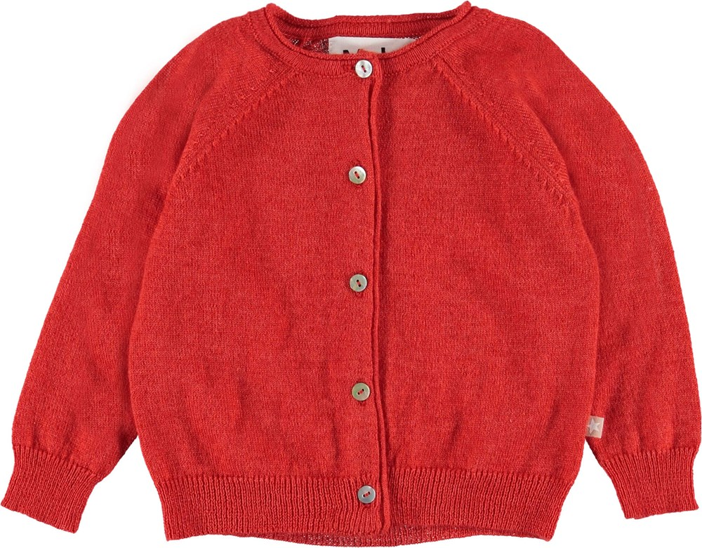 Gladys - Vermilion Red - Baby cardigan in red.