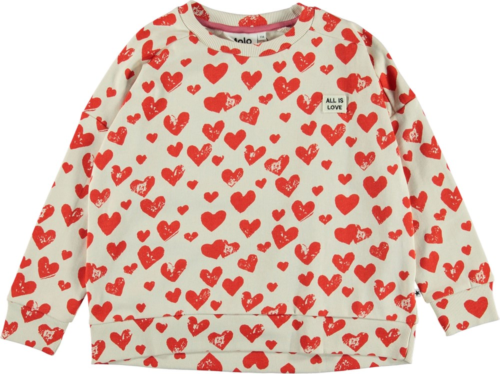 Mandy - All Is Love - Sweatshirt with red hearts.