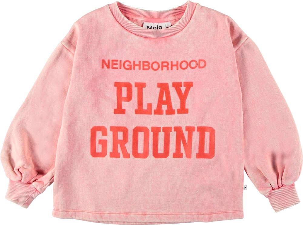 Martina - Sporty Coral - Pink sweatshirt with puff sleeves.