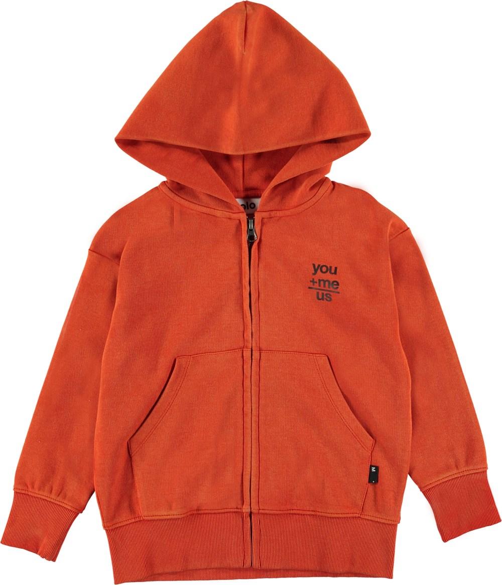 Meqi - Alert - Orange hoodie with zipper.