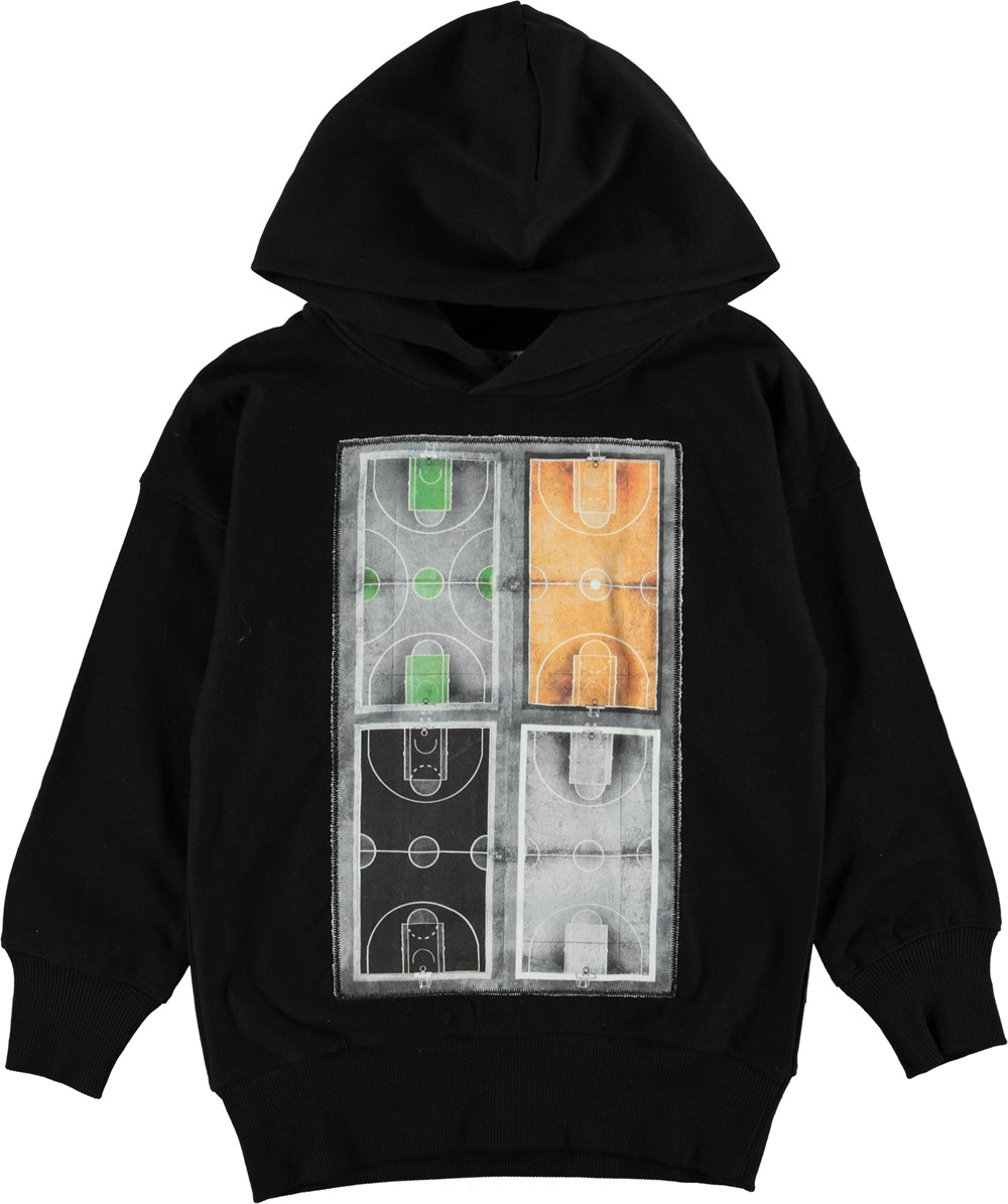 Merlin - Black - Black hoodie with basketball courts.