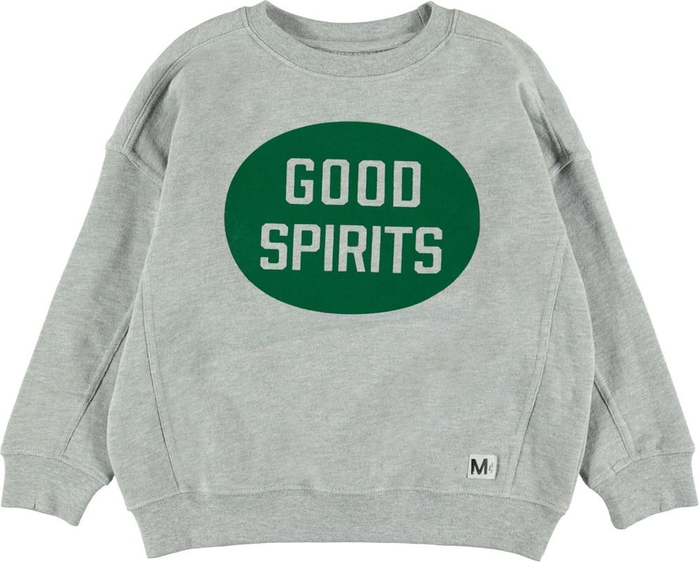 Mieber - Light Grey Melange - Grey sweatshirt with print.