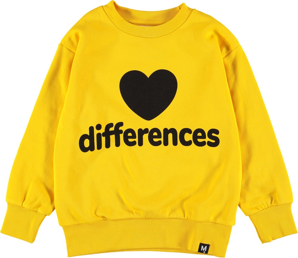 Mik - Comet - Yellow sweatshirt with heart.