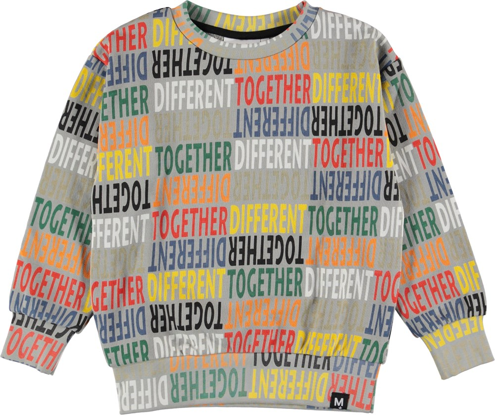 Mik - Different Together - Grey sweatshirt with different together.