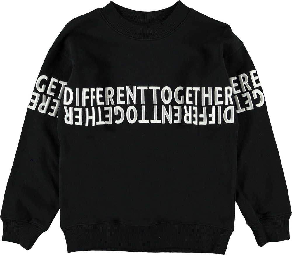 Morrison - Black - Black sweatshirt with white text.