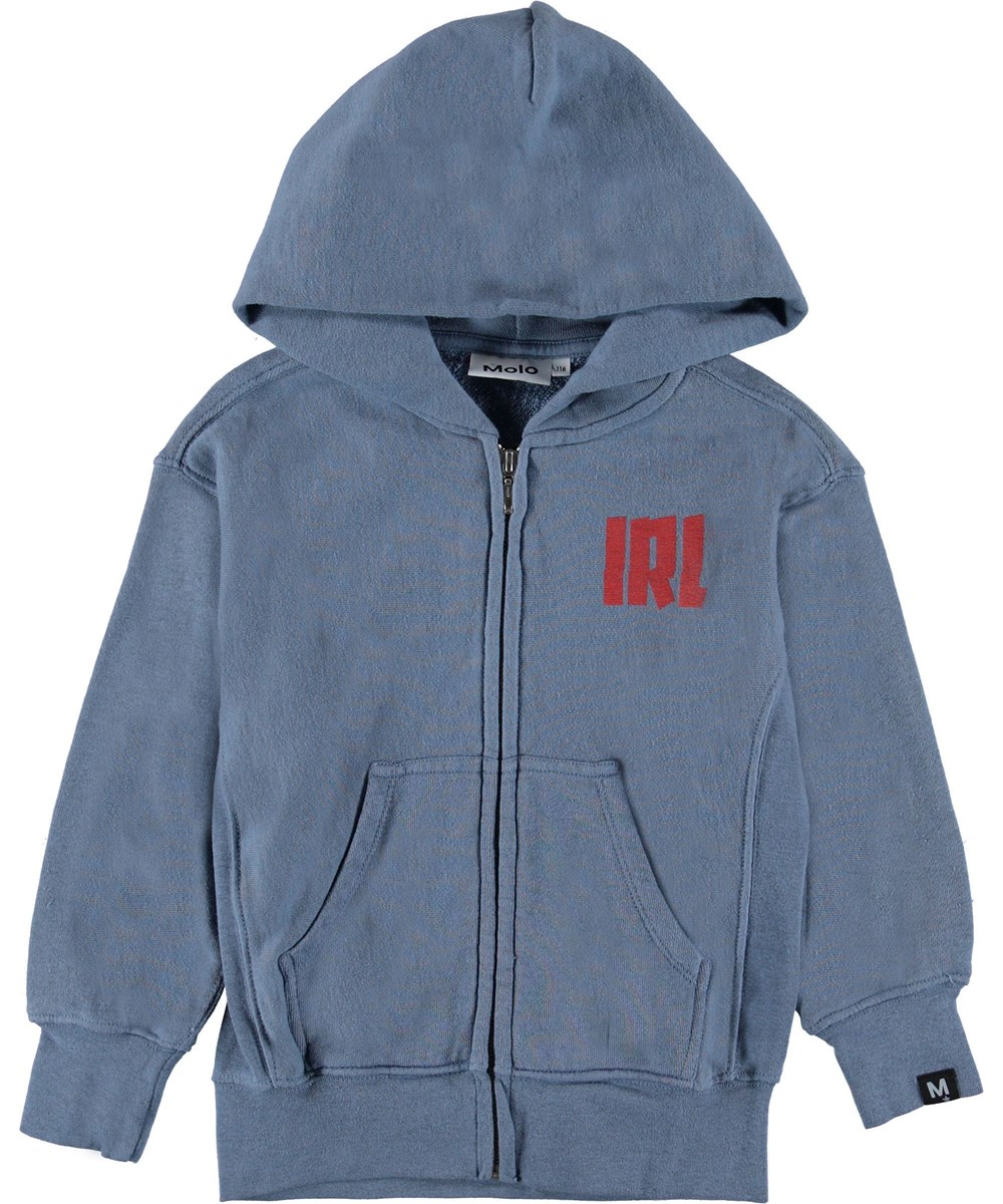 Mozyus - Twilight Blue - Blue hoodie with red IRL text.