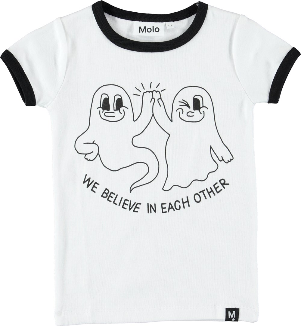Radio - White - Hvid t-shirt med spøgelser.