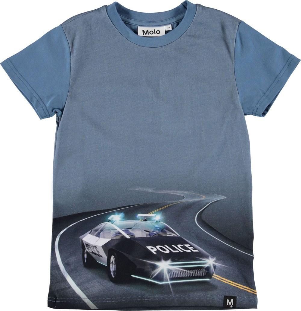 Raven - Selfdriving Police - Blå t-shirt med politi bil.