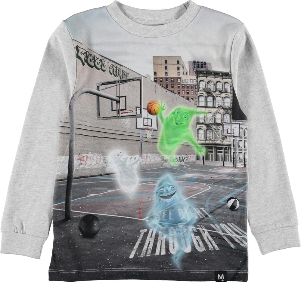 Renzi - Ghost Basket - Grå bluse med spøgelser.