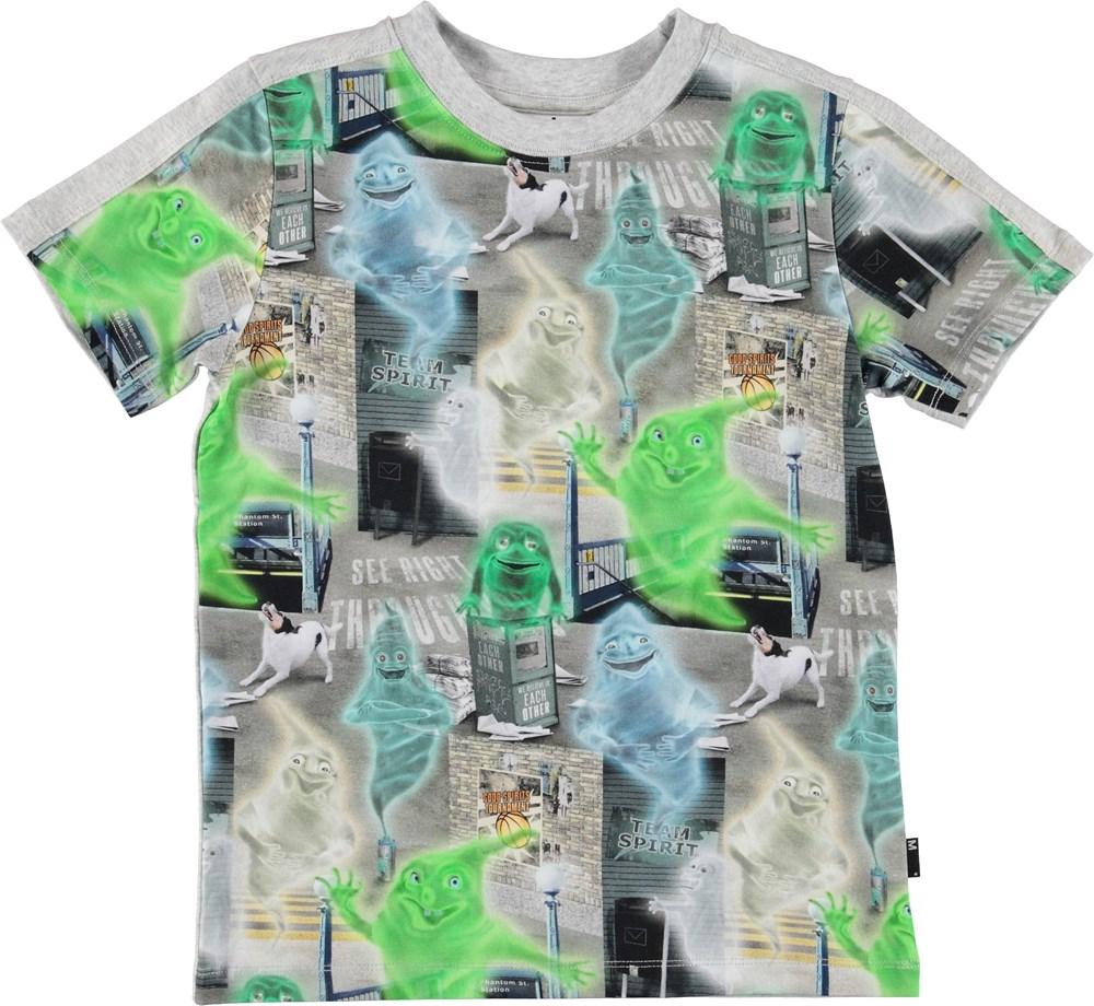 Rishi - Ghost City - Grå t-shirt med grønne spøgelser.