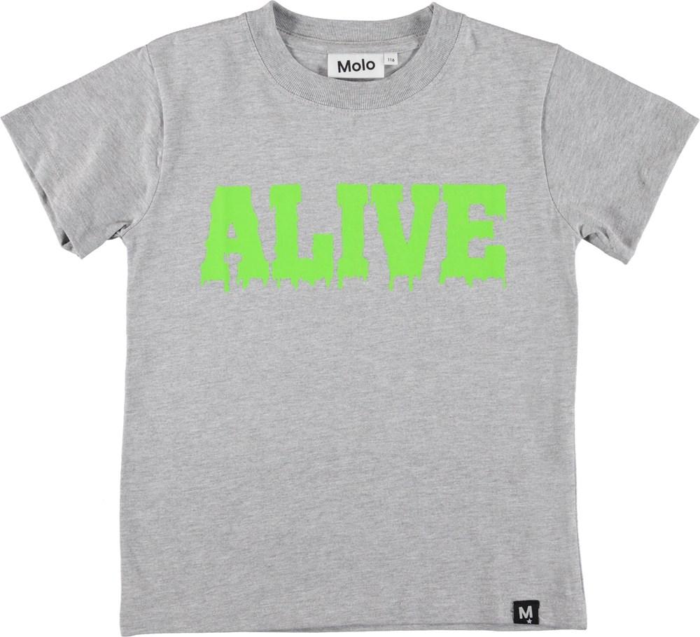 Road - Light Grey Melange - Grå t-shirt med teksten Alive.