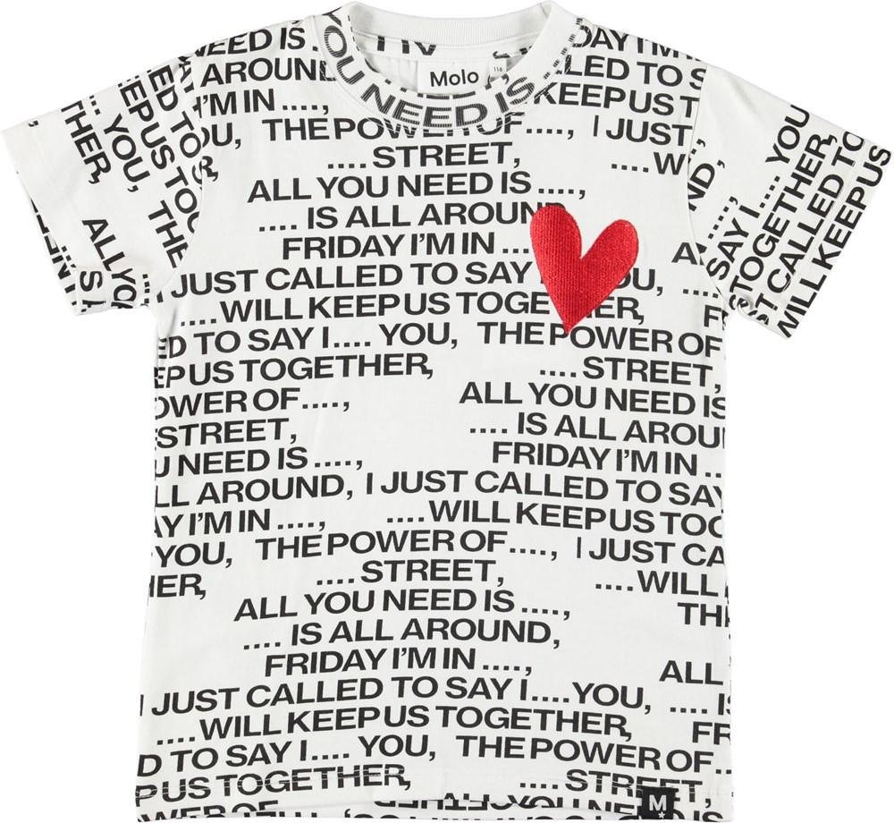 Road - Love Song - Hvid t-shirt med tekst og hjerte.