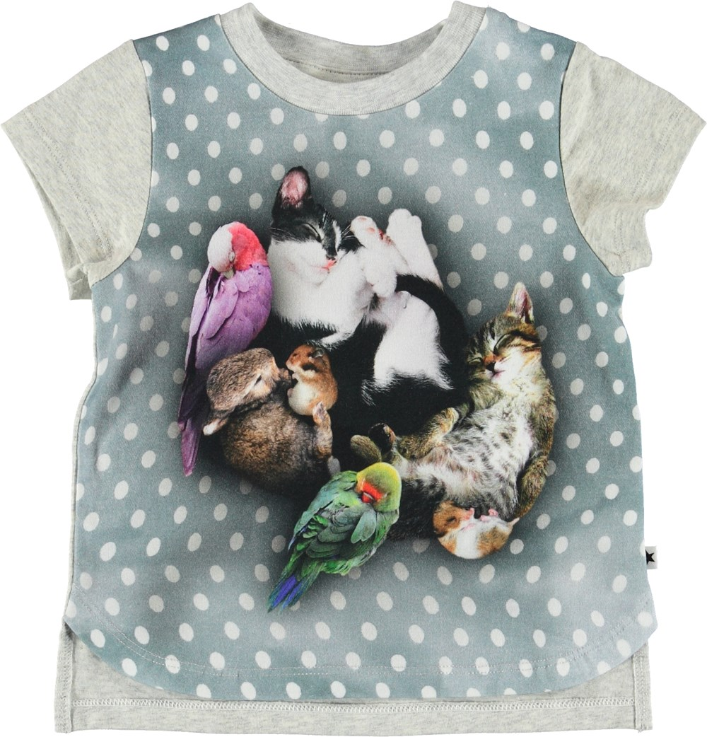 Erin - Sleepy Pets - Baby t-shirt with animals and dots.