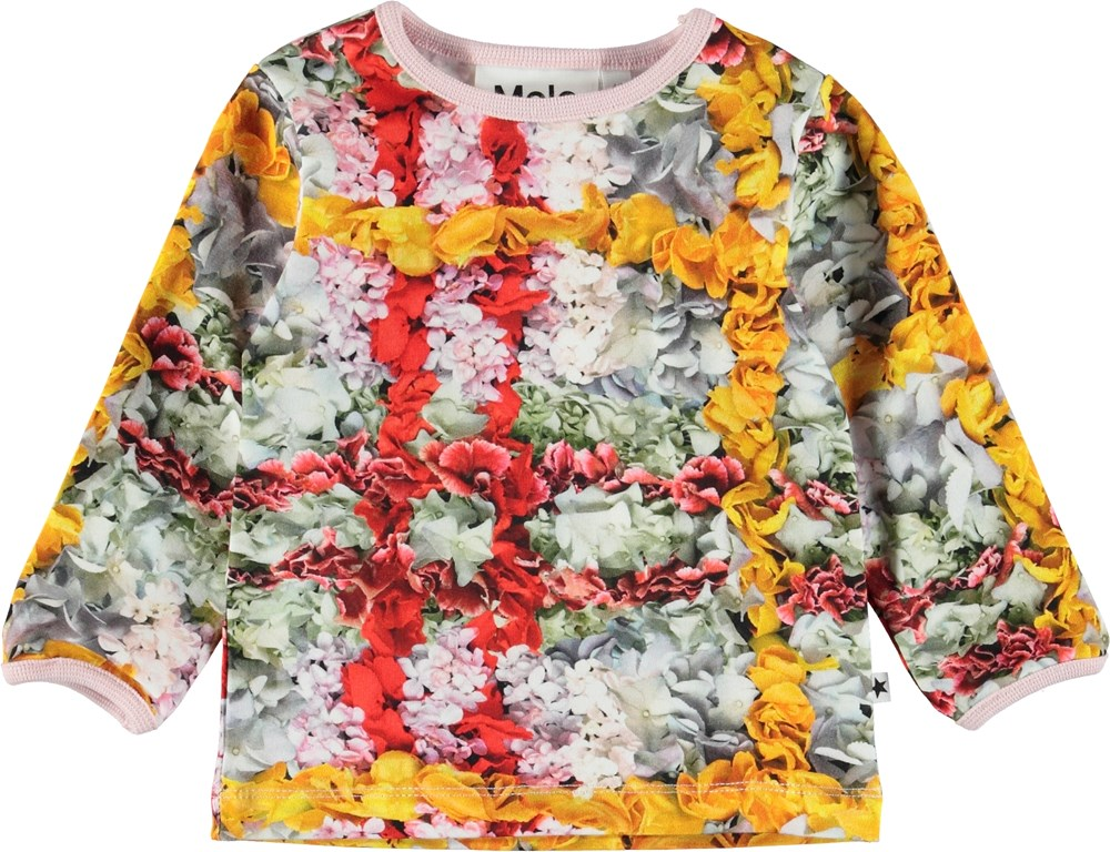 Eva - Checked Flowers - Baby top with flower plaid.