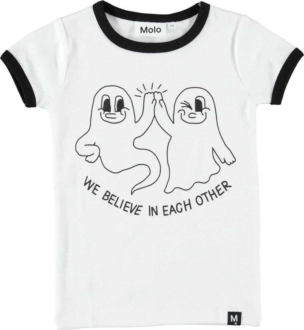 Radio - White - White t-shirt with ghosts.