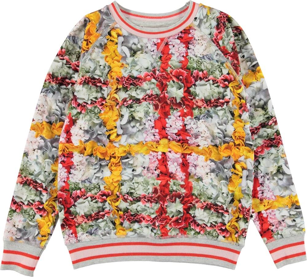 Raewyn - Checked Flowers - Sweatshirt with flower plaid.