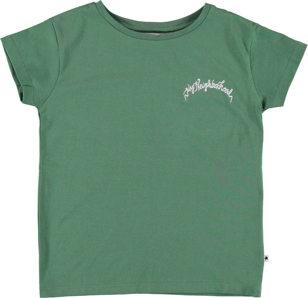 Ranva - Faded Jade - Green t-shirt with embroidered text.