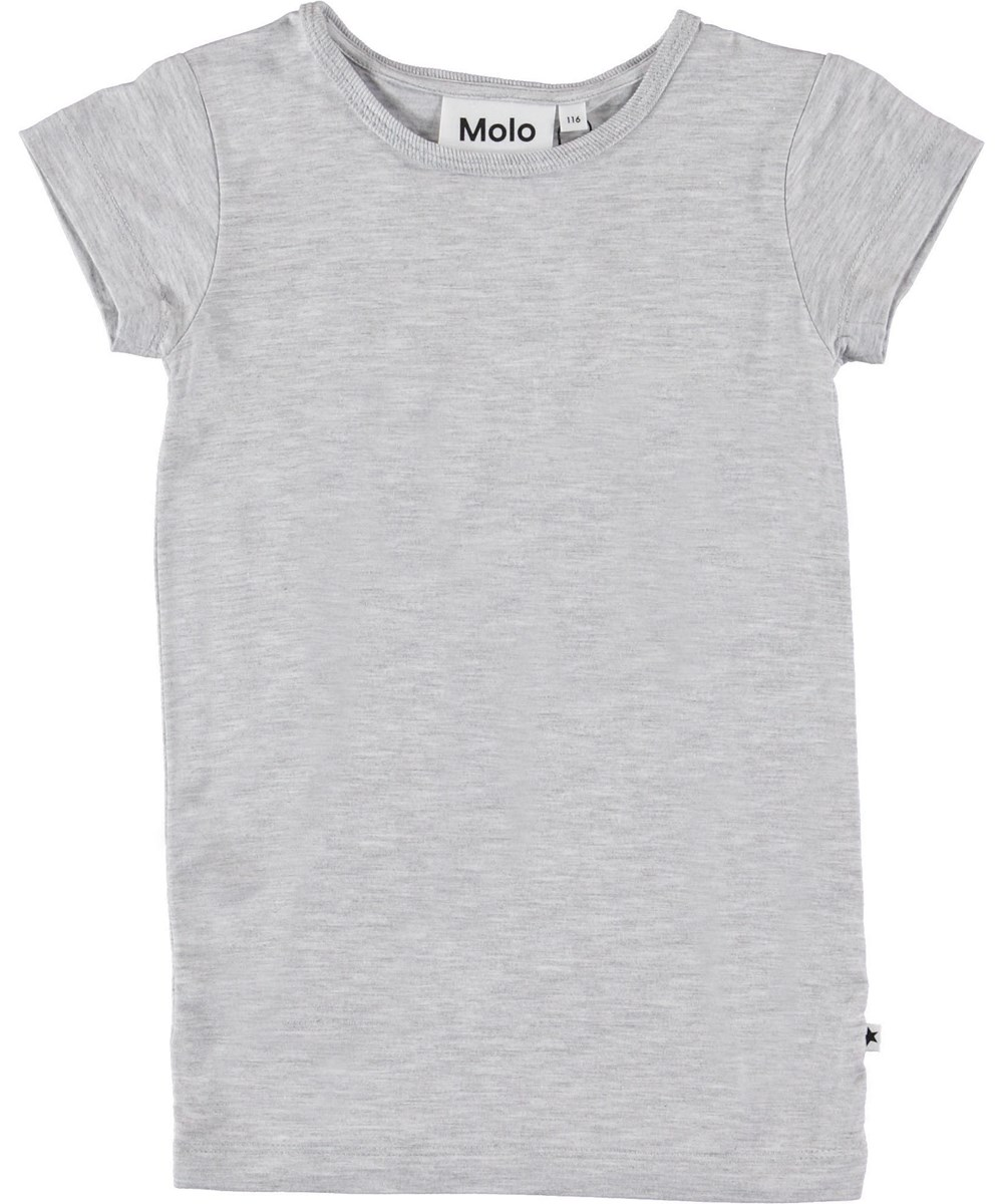 Rasmine - Light Grey Melange - Grey t-shirt.