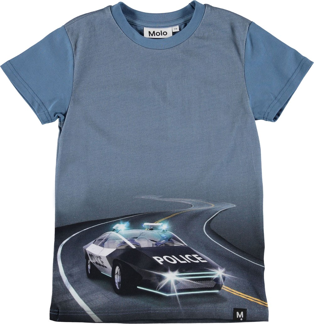 Raven - Selfdriving Police - Blue t-shirt with police car.