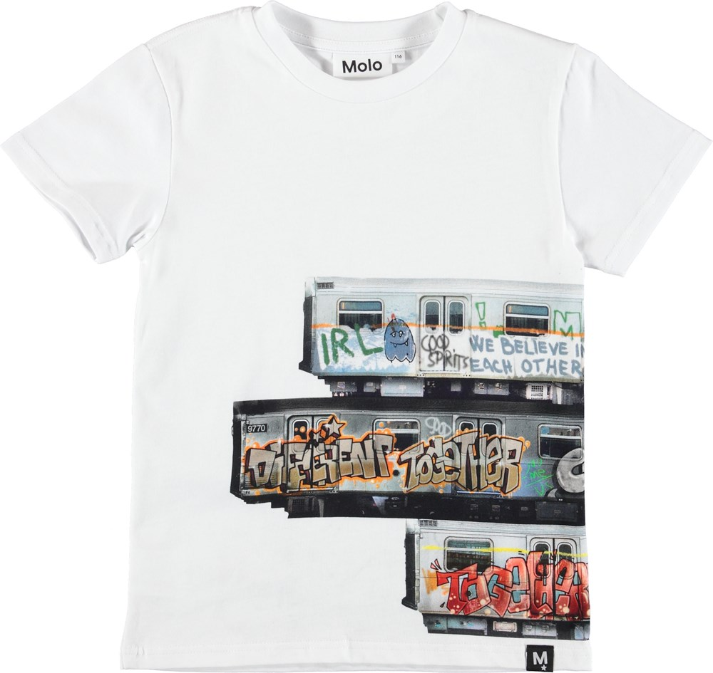 Raven - Subway Stripe - White t-shirt with grafitti on train.
