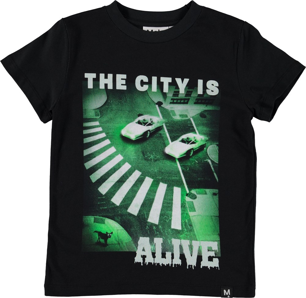 Raymont - Night Vision - Black t-shirt with green print.