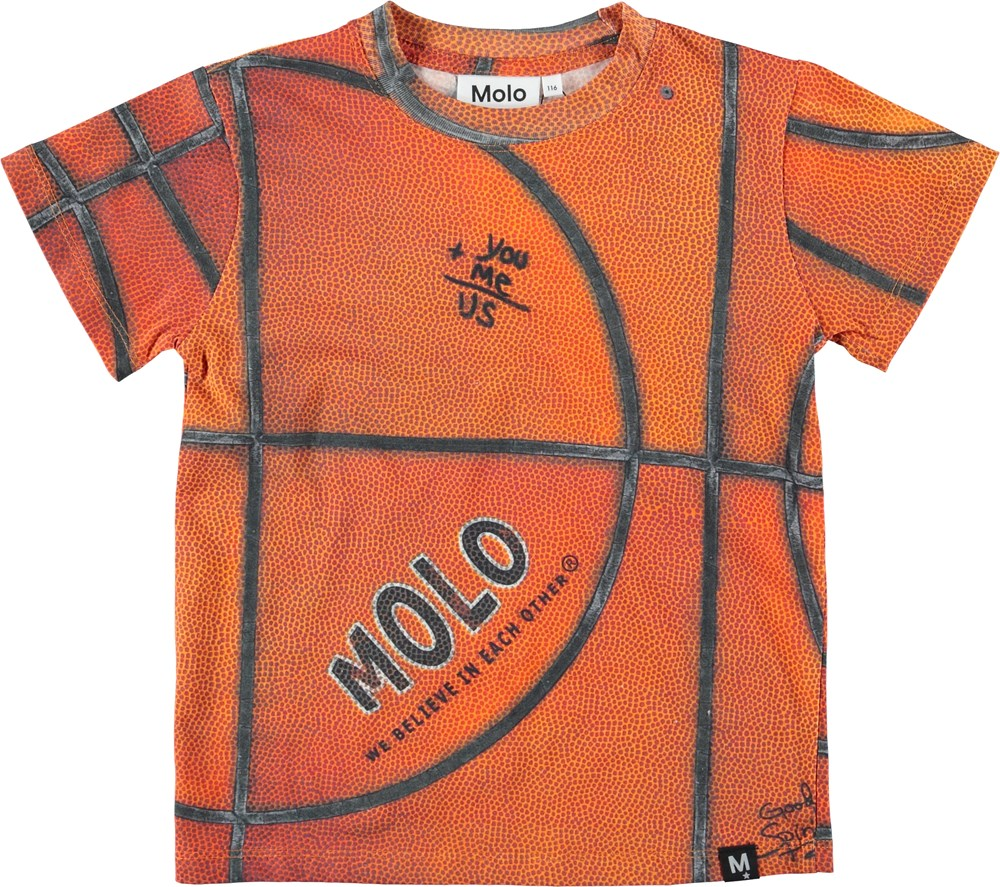 Road - Basket Structure - Orange t-shirt with basketball.
