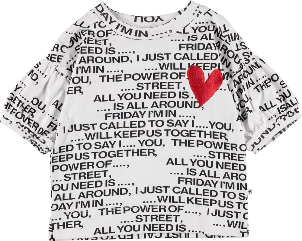 Rosabella - Love Song - White t-shirt with text and heart.