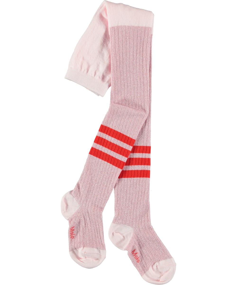 Sporty Rib Tights - Chalk Pink - Tights with stripes.