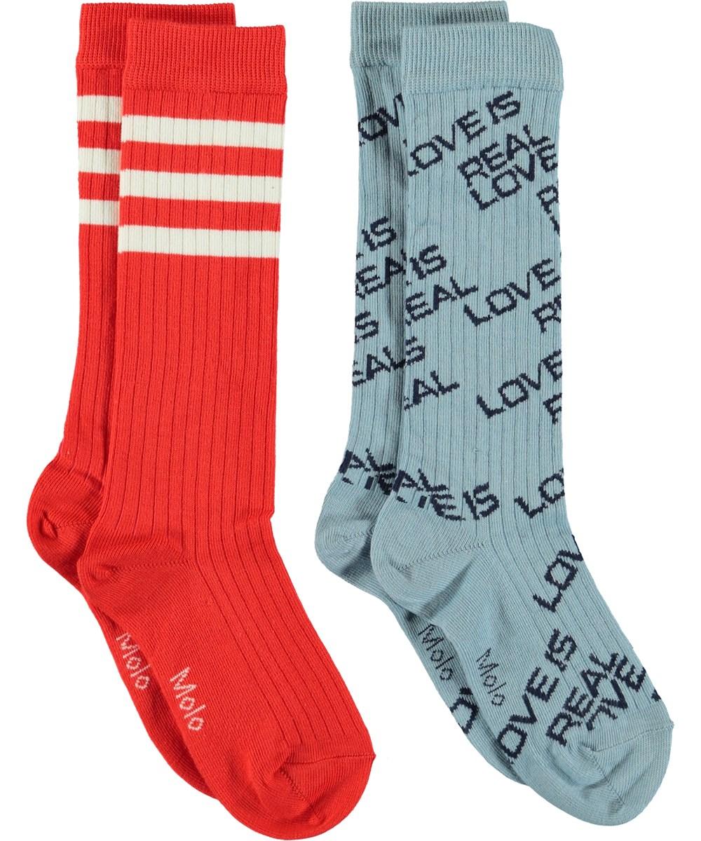 Norvina - Misty Blue - Strømper med tekst og striper