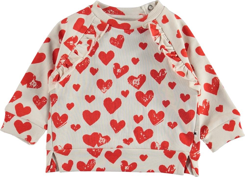 Dayna - All Is Love - Baby sweatshirt med hjerter.