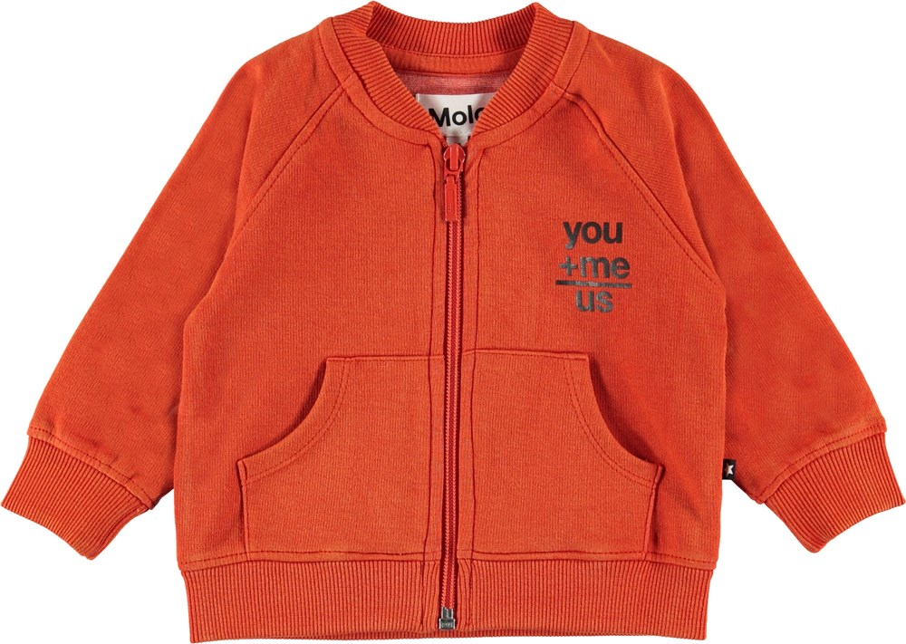 Dimi - Alert - Orange baby sweatshirt.