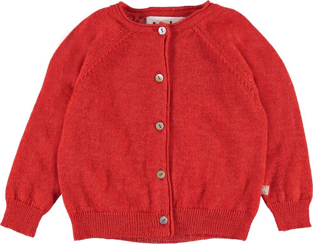 Gladys - Vermilion Red - Baby cardigan i rød.