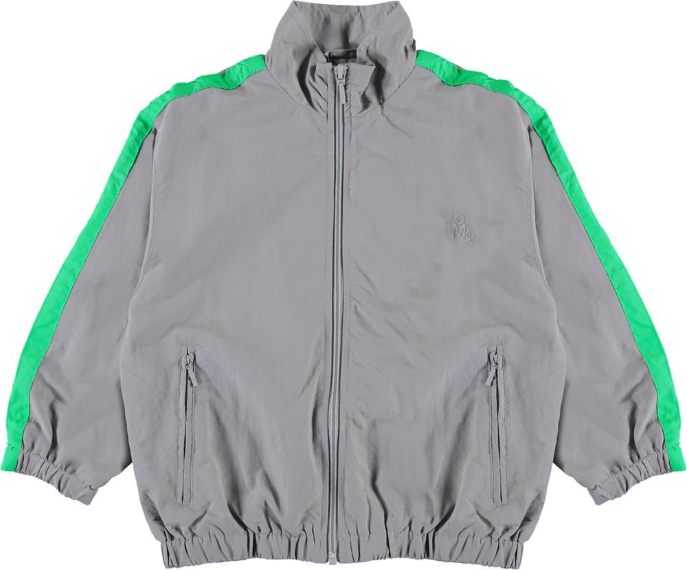 Mates - Ghost Grey - Grå sporty jakke med striber.