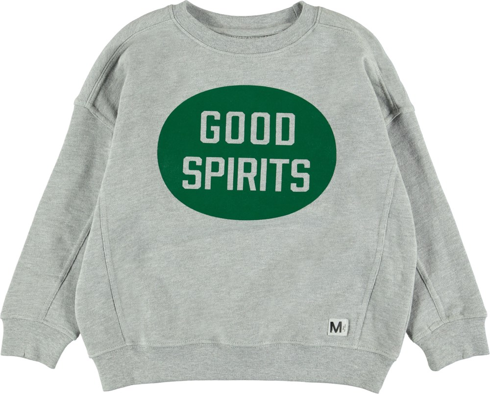 Mieber - Light Grey Melange - Grå sweatshirt med print.