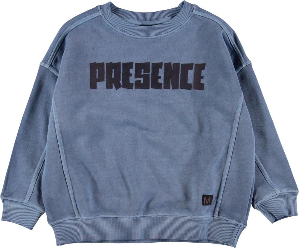 Mieber - Twilight Blue - Blå sweatshirt med teksten presence.