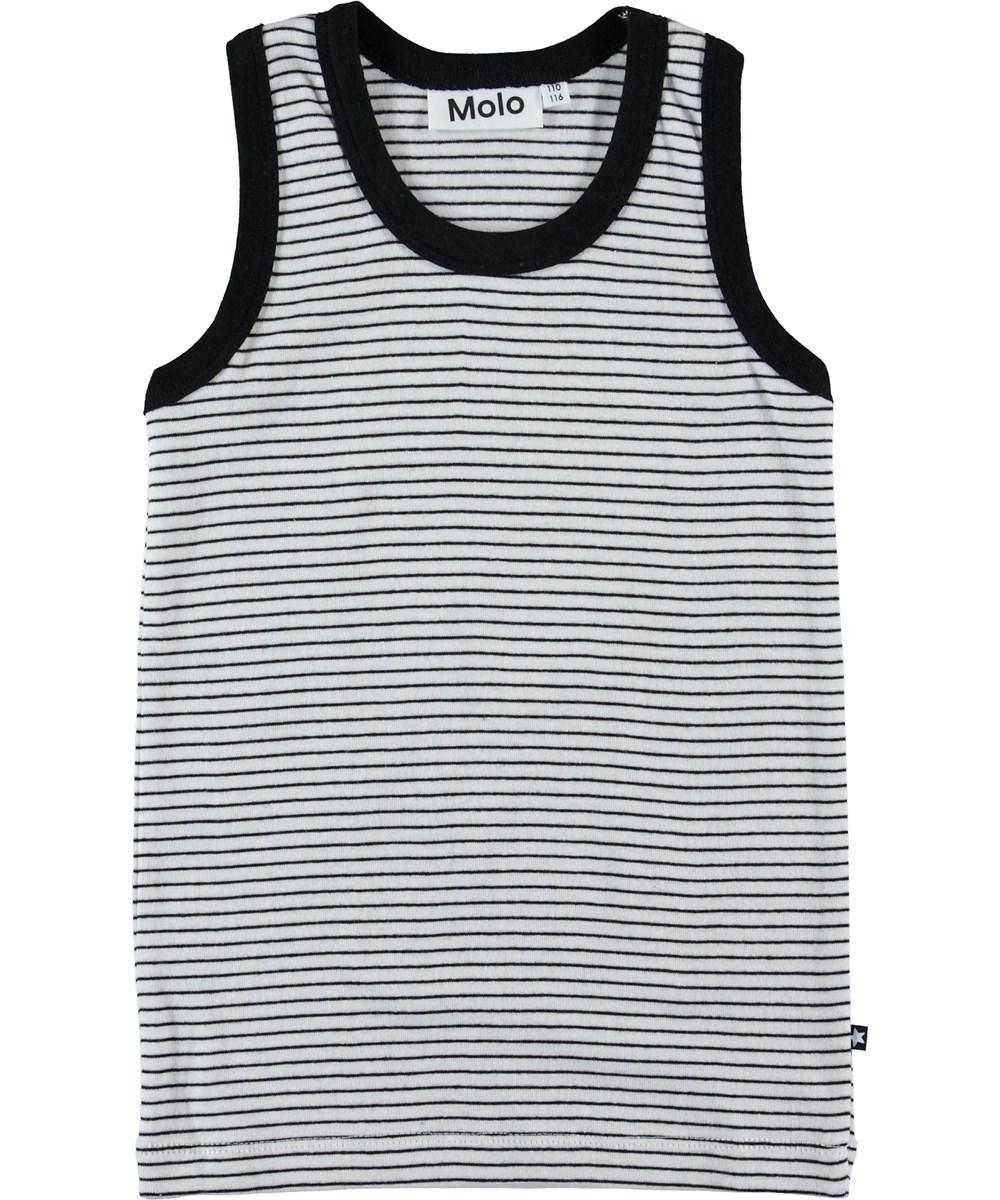 Jim - Black`N White Stripe - Vest with black and white stripes.