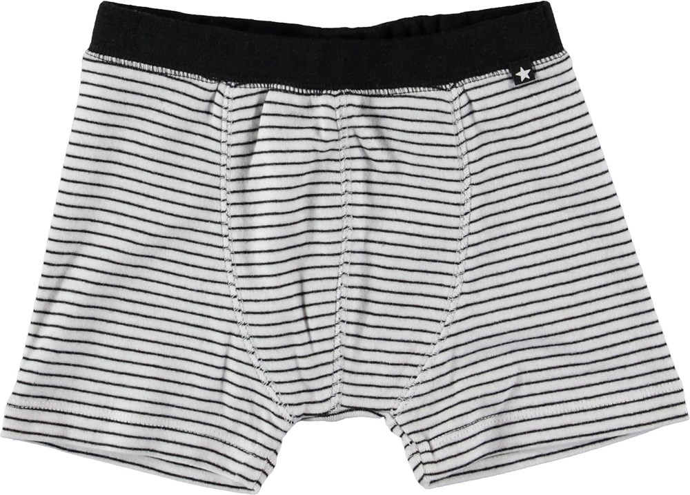 Jon - Black`N White Stripe - Boxer shorts with stripes.