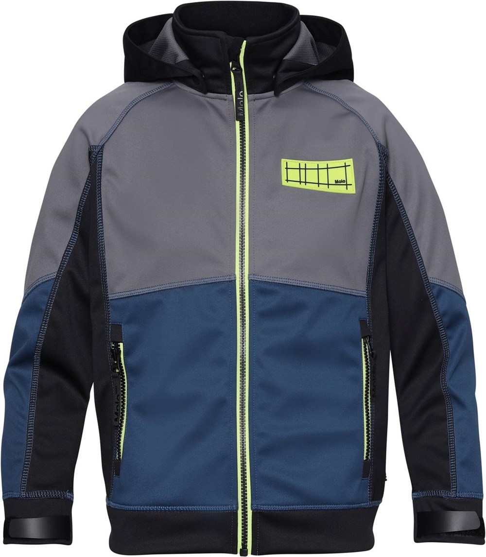 Cloudy - Block - Waterproof softshell with neon green