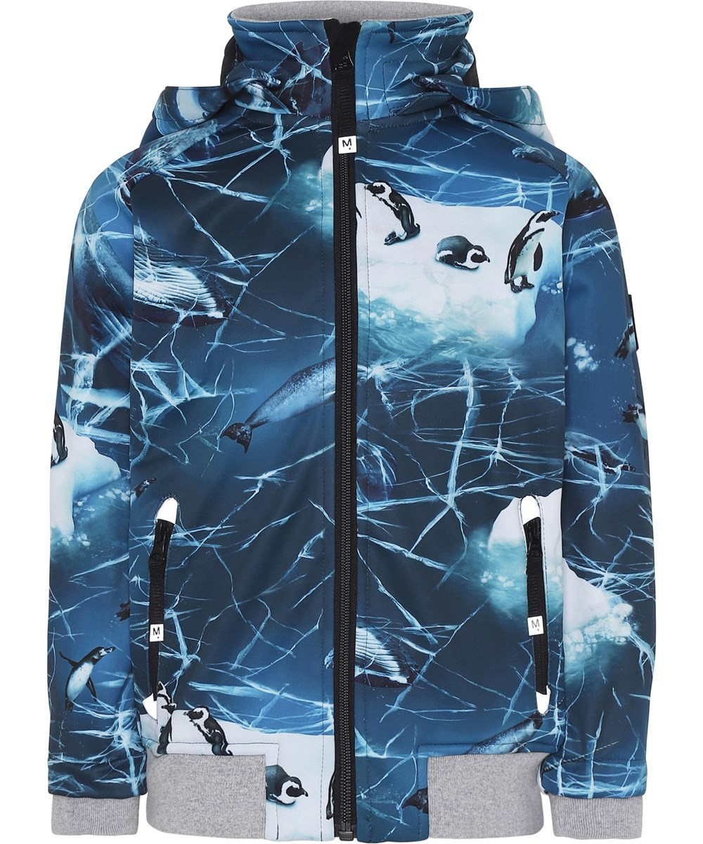 Cloudy - Frozen Ocean - Blue soft shell jacket with penguins.