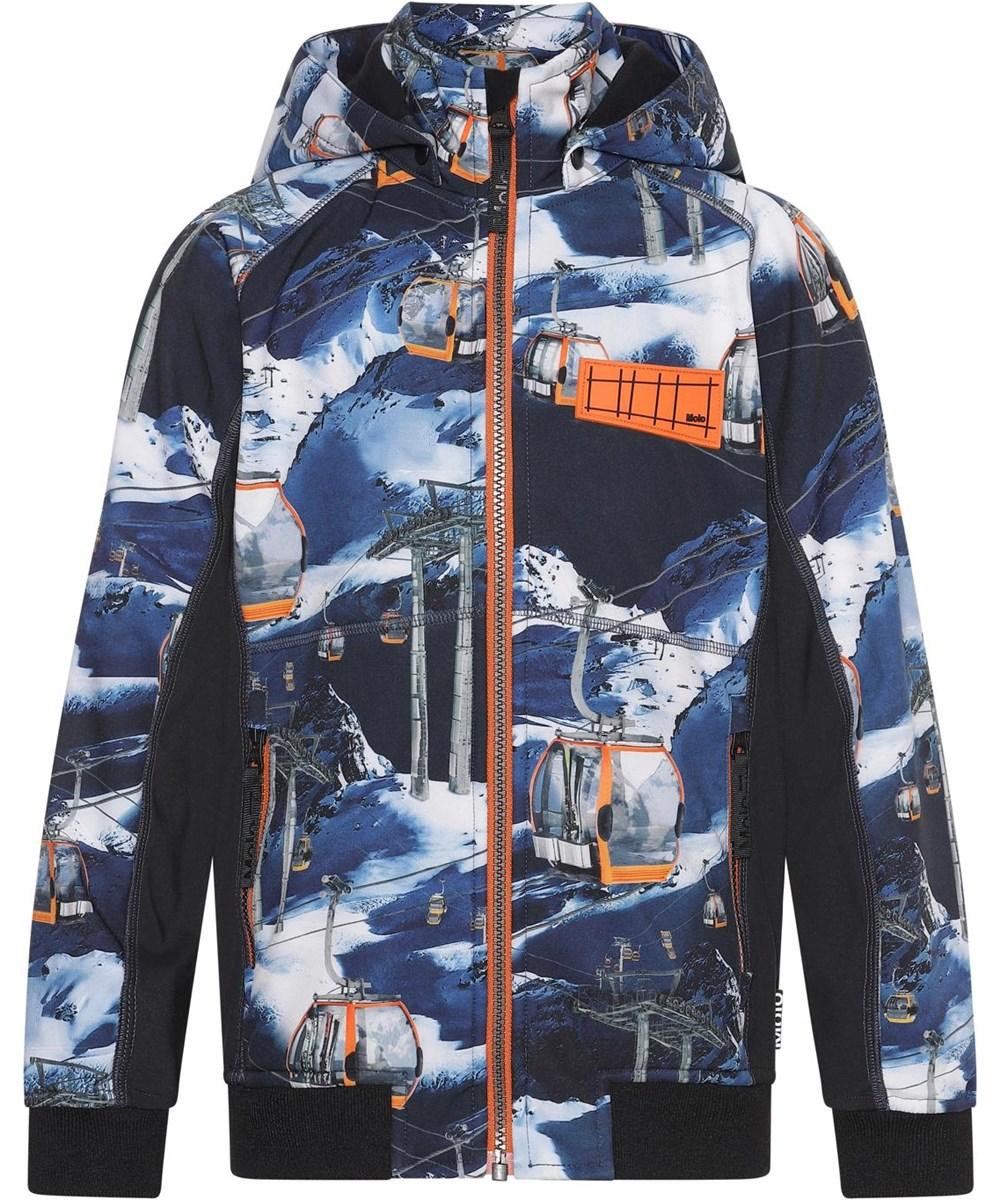 Cloudy - Way Up - Blue softshell jacket with ski lift print