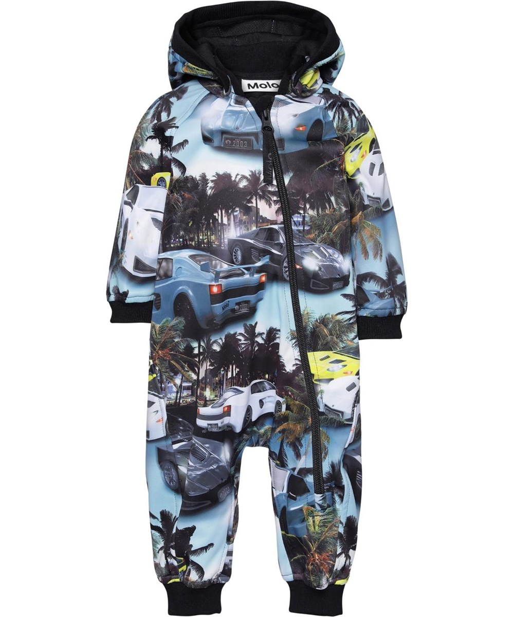 Hill - Fast Cars Blue - Softshell baby romper with car print