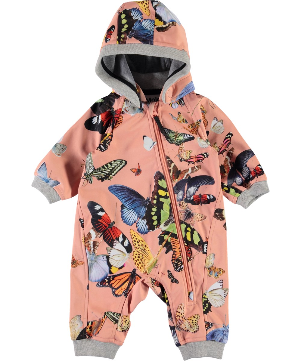 Hill - Flying Butterflies - Baby waterproof softshell romper