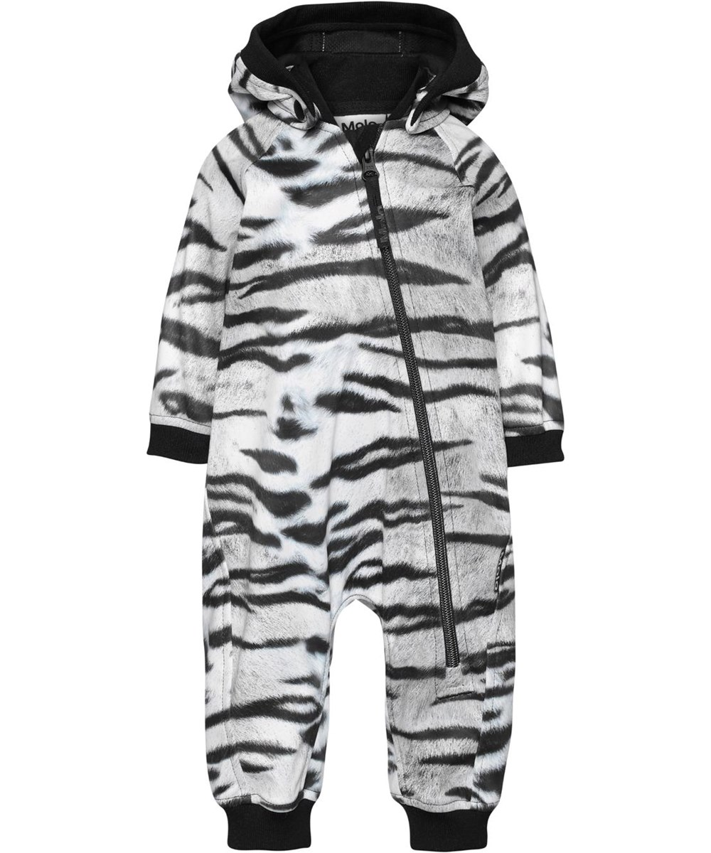 Hill - Tiger White - Softshell baby romper with tiger print