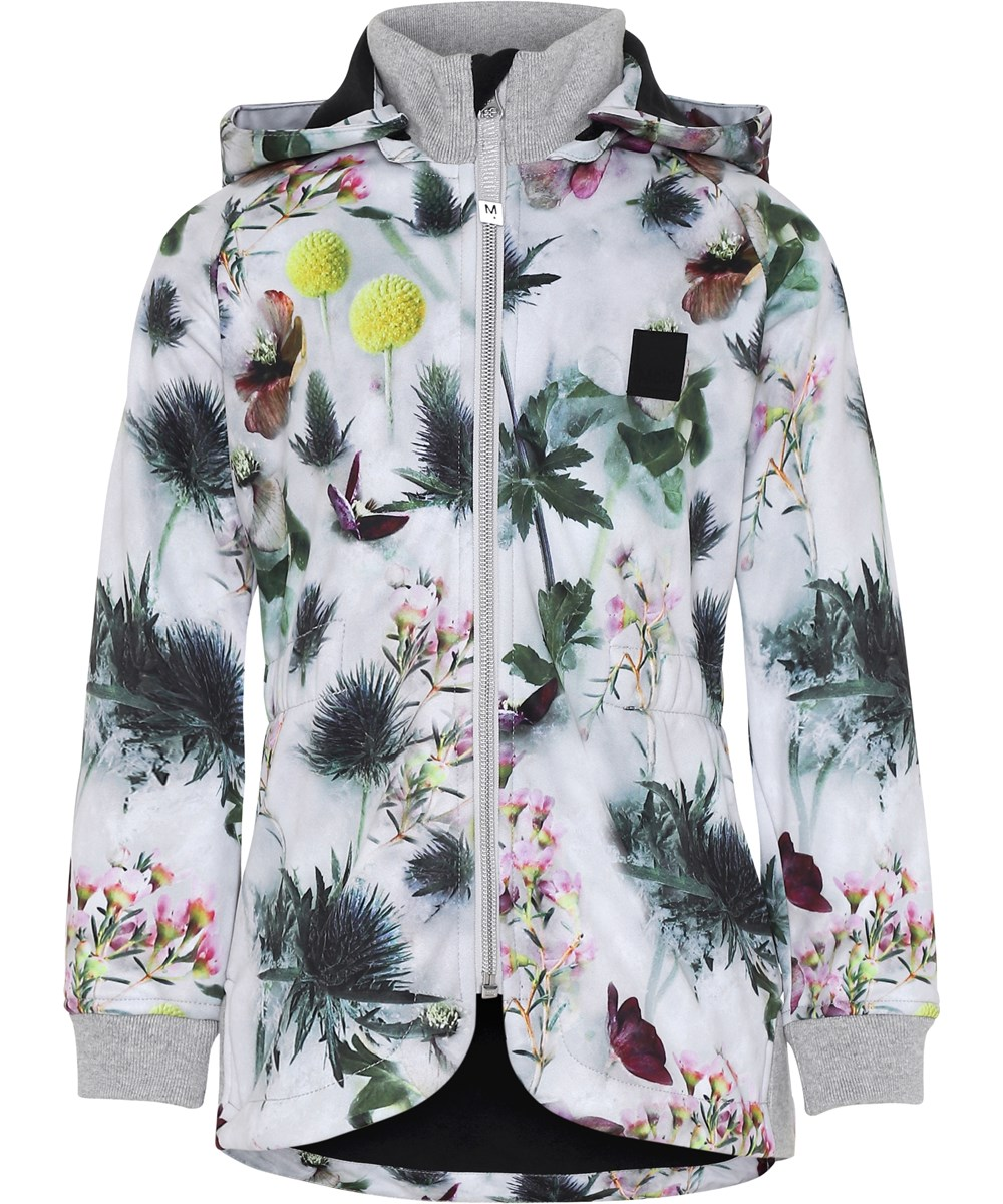 Hillary - Frozen Flowers - White soft shell jacket with flowers.