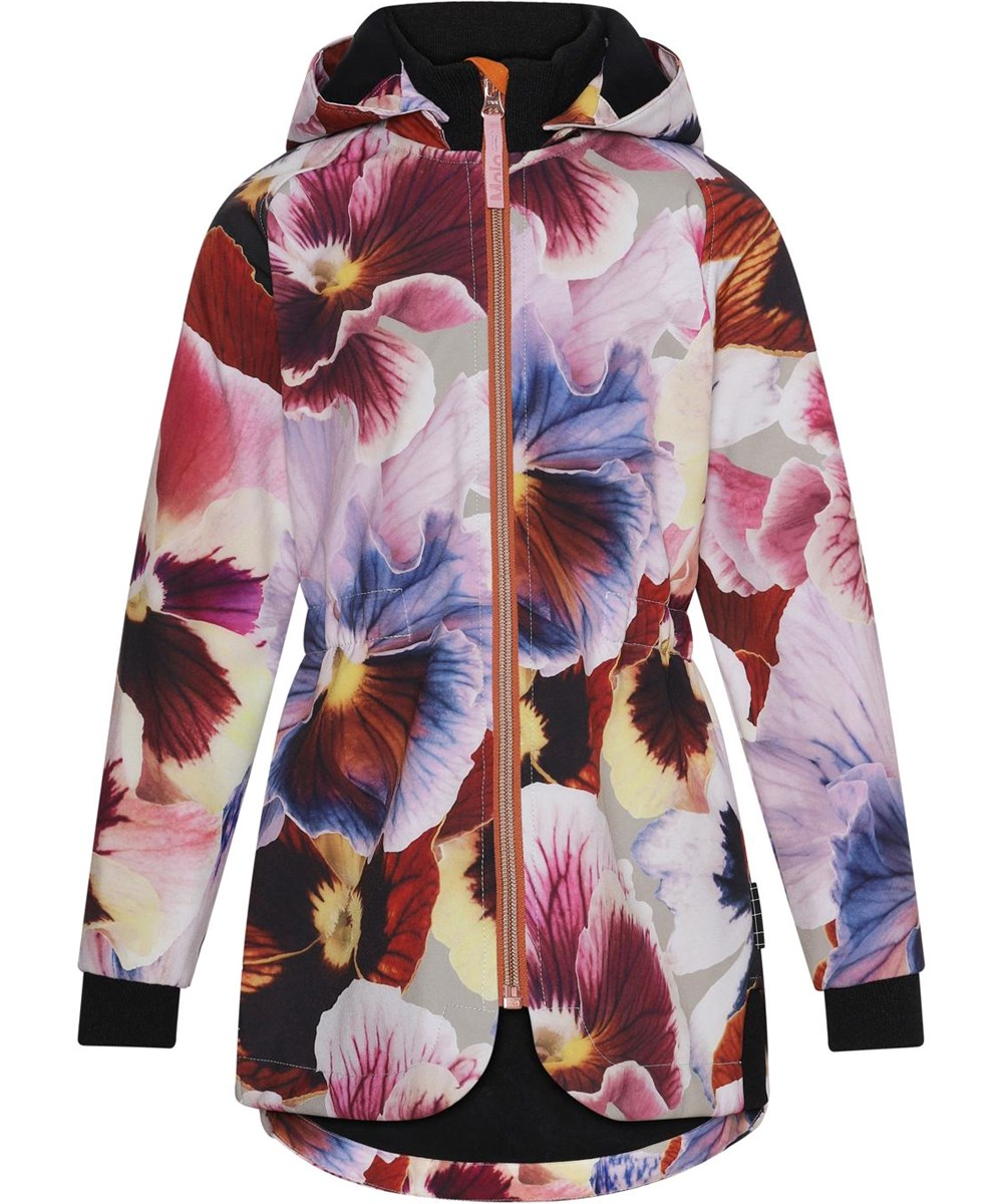Hillary - Giant Floral - Body conscious softshell jacket with flowers